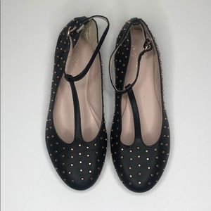 RUBY and BLOOM Black Studded T-Strap Flat Shoes